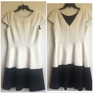 Shoshanna black and white fit and flare dress